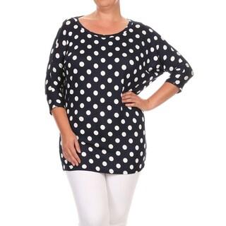 Women's Rayon Spandex Plus Size Polka Dot Top
