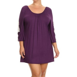 Women's Plus Size White/Black/Purple Rayon and Spandex Crochet Lace Tunic