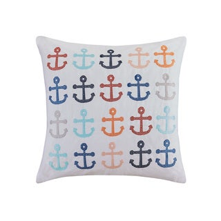 HipStyle Ahoy White Cotton Square 20-inch Pillow
