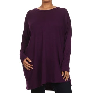 Women's Rayon/Spandex Plus-size Long-sleeve Scoop-neck Tunic (Option: Khaki)