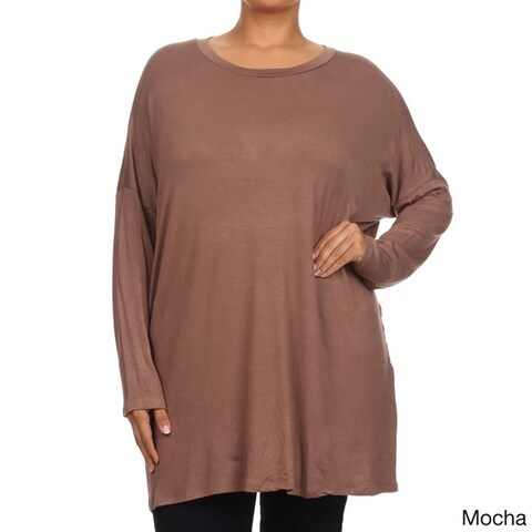 Women's Rayon/Spandex Plus-size Long-sleeve Scoop-neck Tunic