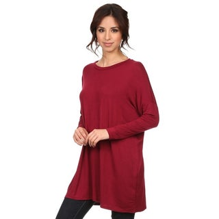 Women's Solid-colored Rayon and Spandex Long-sleeve Top