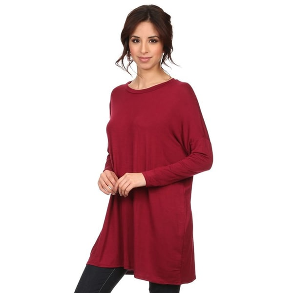 Women's Rayon/Spandex Solid Long-sleeve Top