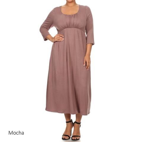 Women's Rayon/Spandex Scoop-neck Midi Dress