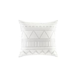 INK+IVY Ava White Cotton Canvas Metallic Embroidered Square Pillow