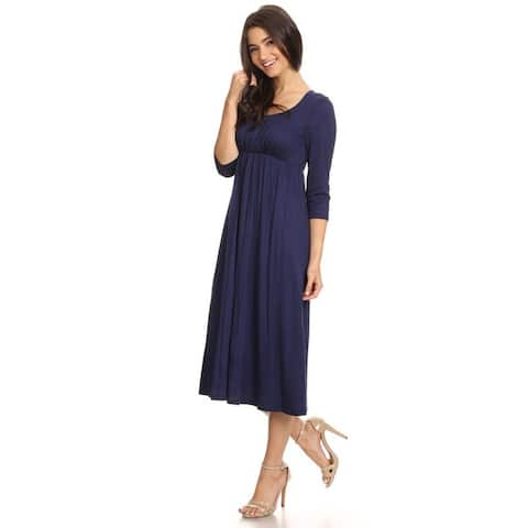 Women's Solid-color Rayon/Spandex Maxi Dress