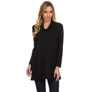 Women's Solid Rayon and Spandex Cowl-neck Top
