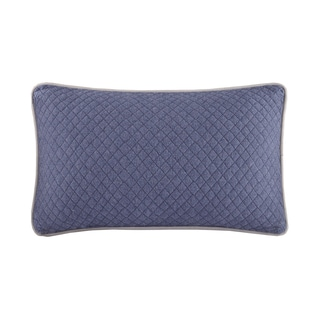 INK+IVY Nova Navy Cotton Quilted Oblong Pillow