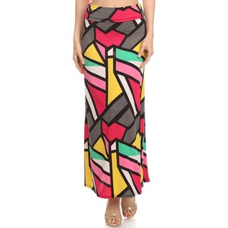 Women's Polyester/Spandex Geometric Maxi Skirt