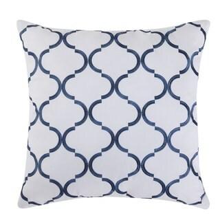 Fiesta Villa Blue Cotton 18-inch x 18-inch Decorative Pillow