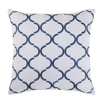Fiesta Villa Blue Cotton 18-inch x 18-inch Decorative Pillow