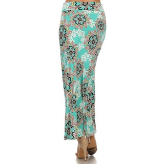 Women's Green/Pink Ornate Floral Polyester/Spandex Maxi Skirt