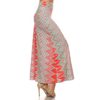 Women's Coral Polyester/Spandex Ornate Maxi Skirt