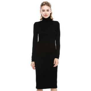 JED Women's Relaxed Fit Soft Stretchy Knit Turtleneck Knee-length Sweater Dress