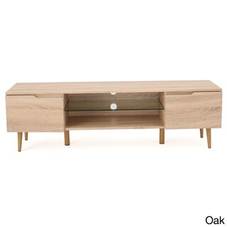 Rowan Wood TV Console Stand with Glass Shelf by Christopher Knight Home