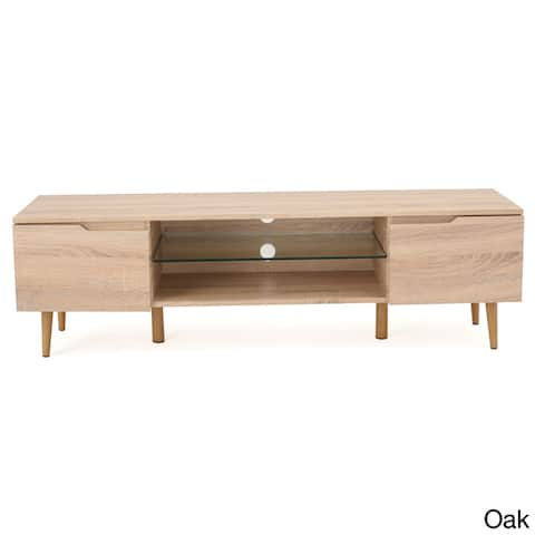 Rowan Mid-Century Modern TV Stand with Glass Shelf by Christopher Knight Home