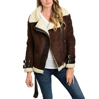 JED Women's Vegan Suede Shearling Lined Jacket