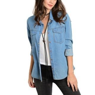 JED Women's Blue Basic Denim Button-down Shirt