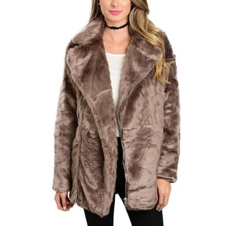 JED Women's Faux Fur Wide Collar Chubby Coat