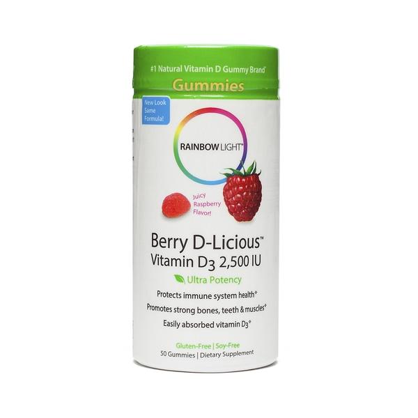Rainbow Light Berry D-Licious Vitamin D3 Ripe Raspberry 2500 IU (50 Gummies)
