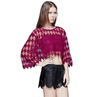 JED Women's Magenta Cotton/Polyester Quarter Sleeve Party Crop Top