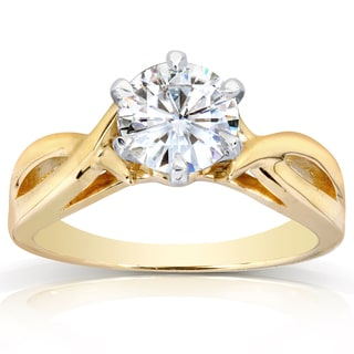 Annello 14k Yellow Gold One Carat Forever One Moissanite Six Prong Crossover Solitaire Engagement Ring