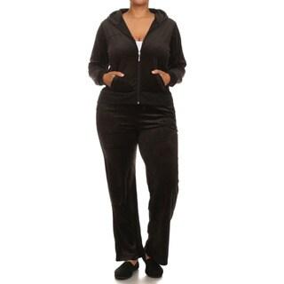 JED Women's Plus-size Velour 2-piece Hoodie Sweatsuit