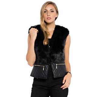 Spicy Mix Rubi Quilted Puff Vest Faux Fur Collar and Sequined Trim