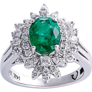 EFFY 14K White Gold 3/4ct TDW Diamond Natural Emerald Green Ring