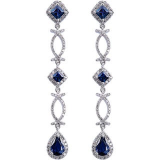 EFFY Final Call 14k White Gold 4/5ct TDW Diamond Natural Sapphire Earrings (H-I,I1-I2)