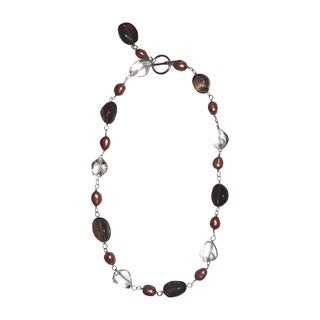Sterling-silver Brown/Clear Quartz/Copper/Pearl Necklace