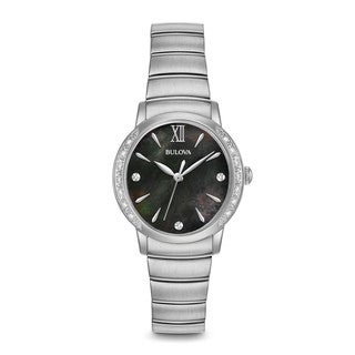 Bulova Women's 99R213 Silver Tone Stainless Steel and Diamond Watch with a Black Mother of Pearl Dial