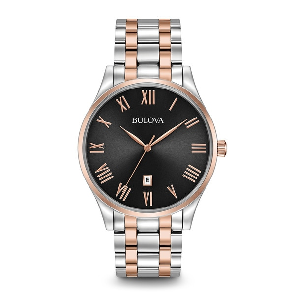 b66f04612225 Shop Bulova Men's 96B279 Stainless Steel Black Dial with Rose gold Tone  Accents Watch with Roman Numeral Hour Markers. - Free Shipping Today -  Overstock - ...