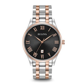 Bulova Men's 96B279 Stainless Steel Black Dial with Rose gold Tone Accents Watch with Roman Numeral Hour Markers.