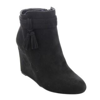 Bamboo Women's ED55 Side-tassel Zip-ankle High-wedge Dress Booties