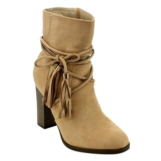 Athena Women's ED53 High Stacked Tassel Lace Wrap Pull-on Ankle Booties