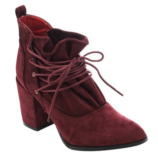 Athena ED51 Women's Faux Suede Lace-up Ankle Booties