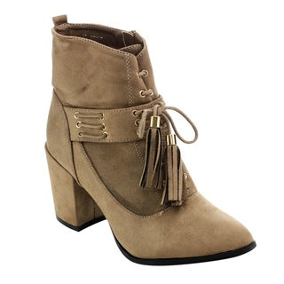 Athena Women's ED50 Faux-suede Tassel Lace-up Side-zip Block-heel Ankle Booties