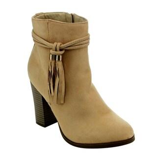 Athena ED49 Women's Faux Suede Side-zip Tassel High-heel Ankle Booties
