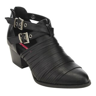 C Label AD70 Women's Buckle-strap Cutting Back-zipper Block-heeled Ankle Booties