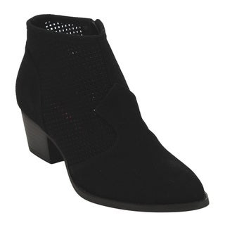 C Label AD69 Women's Perforated Side-zipper Block-heel Ankle Booties