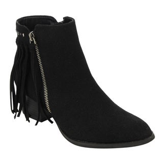 C LABEL Women's Studded Fringe Faux-leather Side Zipper Block Heel Ankle Booties