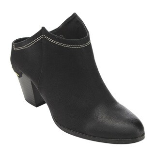 C Label Women's Faux-leather Block Heel Ankle Booties