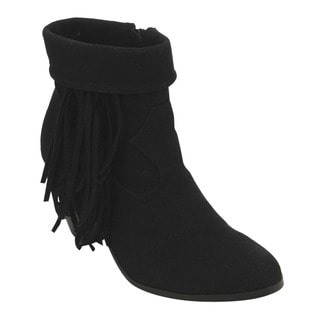 C Label Women's AD67 Foldable Fringe Side Zipper Block Heel Ankle Booties
