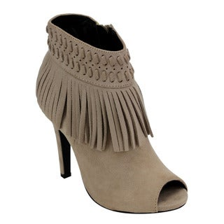 C LABEL AD65 Women's Fringe Side Zipper Stiletto Ankle Booties