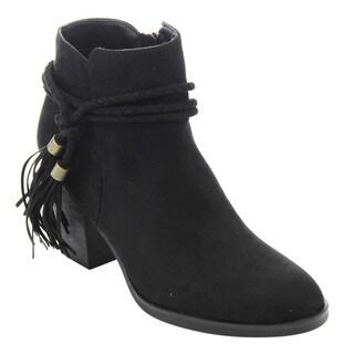 Bamboo ED54 Women's Braided Tassel Side-zipper Chunky High Heel Ankle Booties