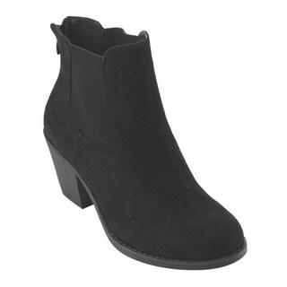 Refresh AD75 Women's Elastic-gusset Back-zipper Block-heel Ankle Booties