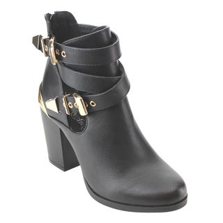 Refresh Women's Black Faux Leather Ankle Booties