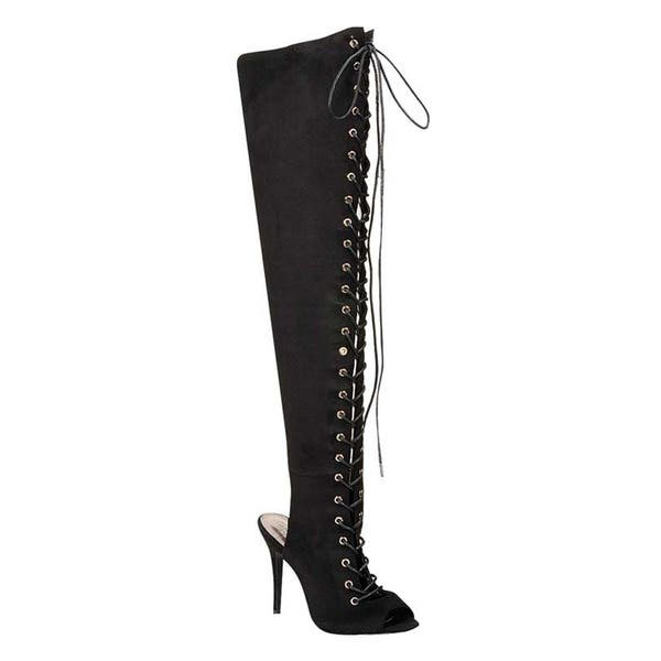 4a5ca0011df Breckelle's ED35 Women's Thigh-high Corset Lace-up Stiletto High-heel Boots