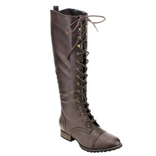 Breckelle's ED34 Women's Fashion Military Lace-up Combat Knee-high Boots